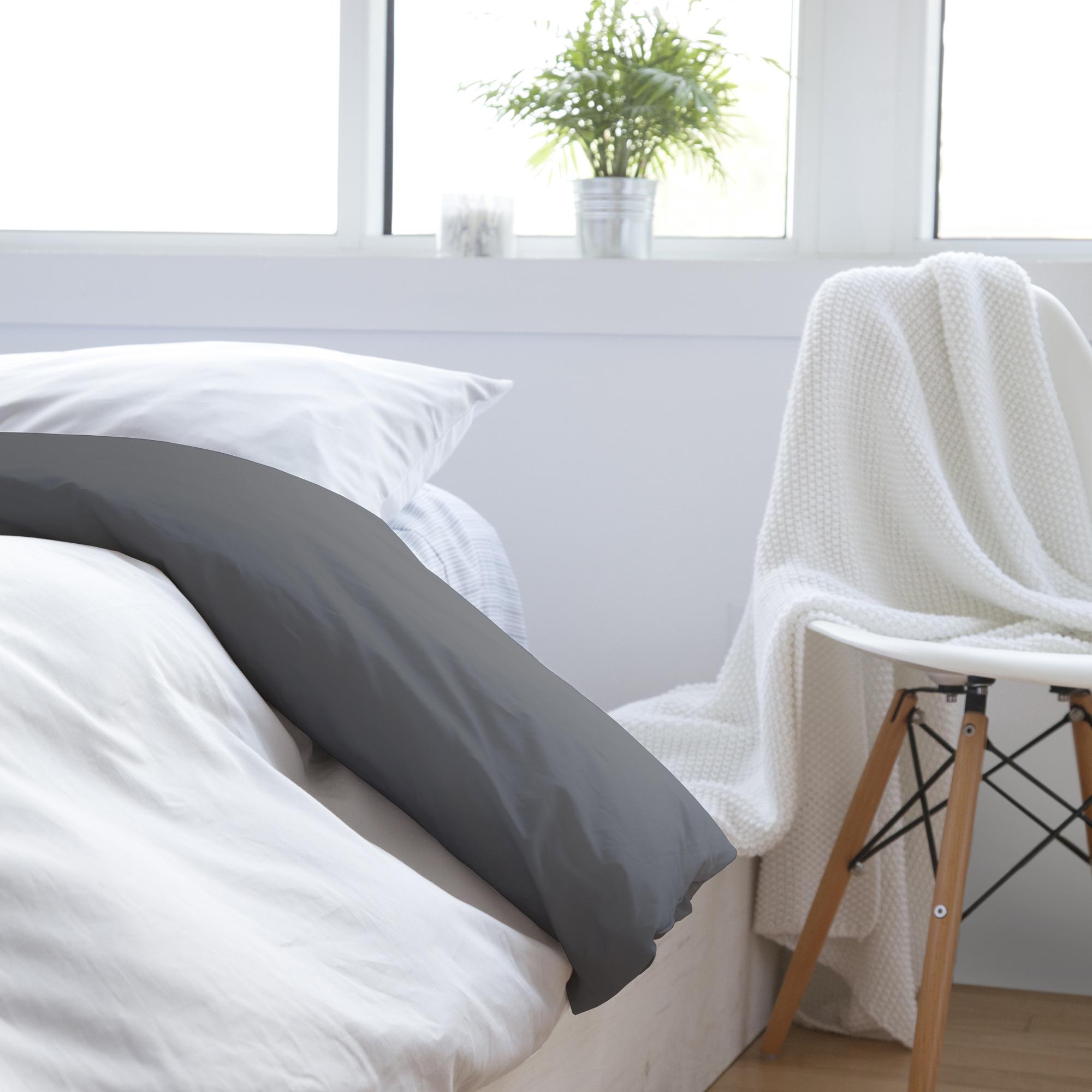 housse de couette r versible gris fonc blanc laduvet nordique couette de lit housse. Black Bedroom Furniture Sets. Home Design Ideas